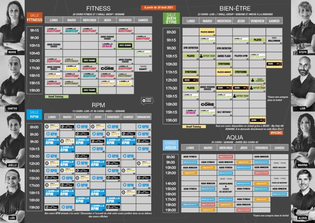 Planning Septembre 2021 Océania Club Bayonne