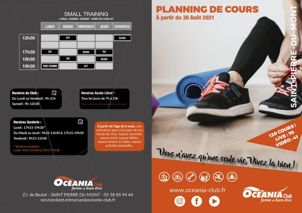 Planning Septembre 2021 Océania Club St Pierre du Mont